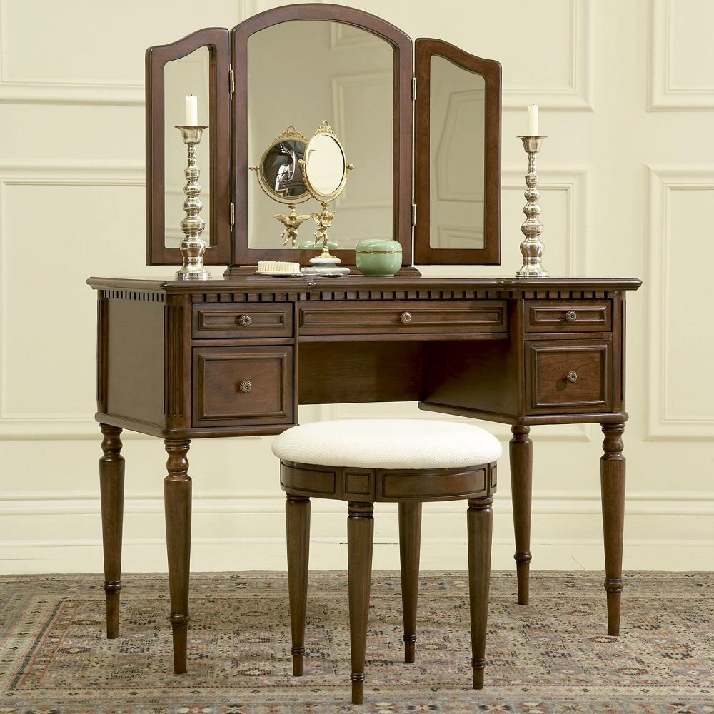 Bon Powell Warm CherryVanity, Mirror, U0026 Stool ...