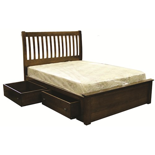 Rotmans Amish Huntington Shaker Queen Solid Wood Bed with Slatted Headboard & 4-Drawer Underbed Storage Unit