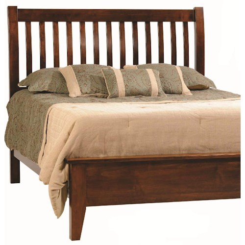 Rotmans Amish Huntington Shaker King Shaker-Style Solid Wood Bed with Slatted Headboard