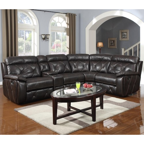Prime Resources International 1660 Reclining Sectional w/ Console
