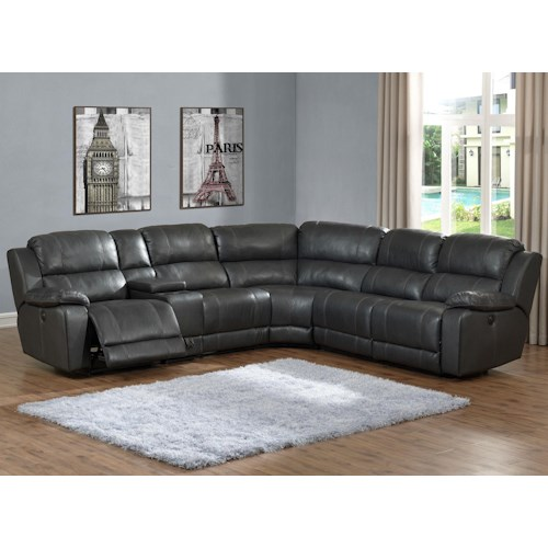 Prime Resources International Calais 6PC Power Reclining Leather Sectional