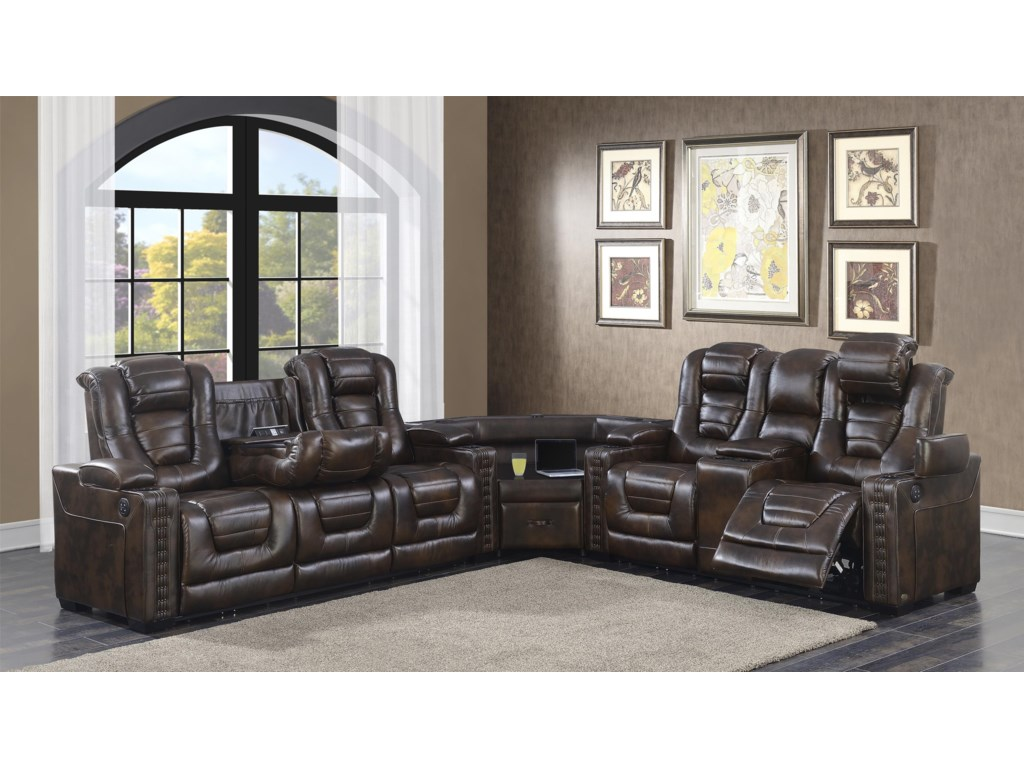 Prime Resources International Big ChiefPower Reclining Sectional Sofa