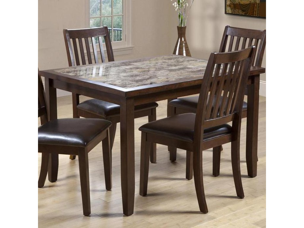 Primo International 2096Dining Table with Faux Marble Top