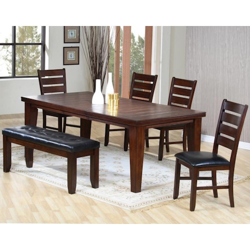 Primo International 2842 6 Piece Dining Set With Rectangular Leg Table And 4 Side Chairs