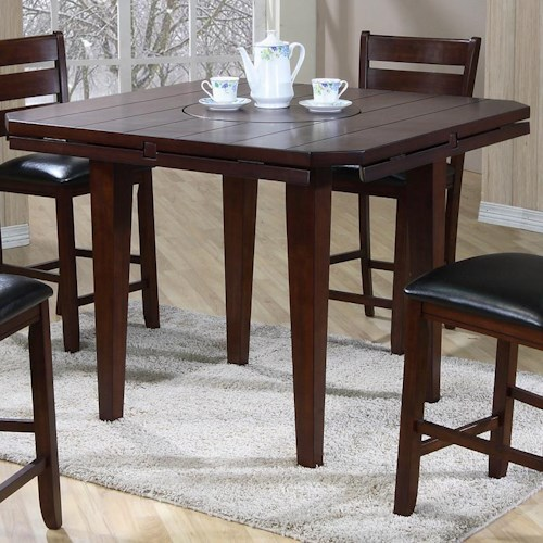 Primo International 4540 Drop Leaf Gathering Height Table With Rotating Centerpiece