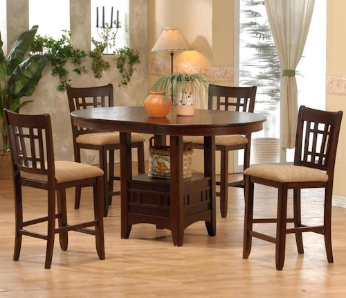 Primo International 4560 Counter Height Table with Upholstered Pub Height Chairs