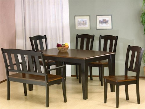 Primo International 7700 Rectangular Dining Leg Table With 4 Side Chairs And One Bench