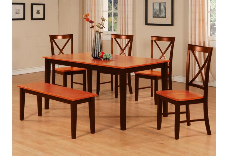 Primo International 8971 8971 Dintb 4xdinch Bench Dining Table Bench X Back Chair Set Corner Furniture Table Chair Set With Bench