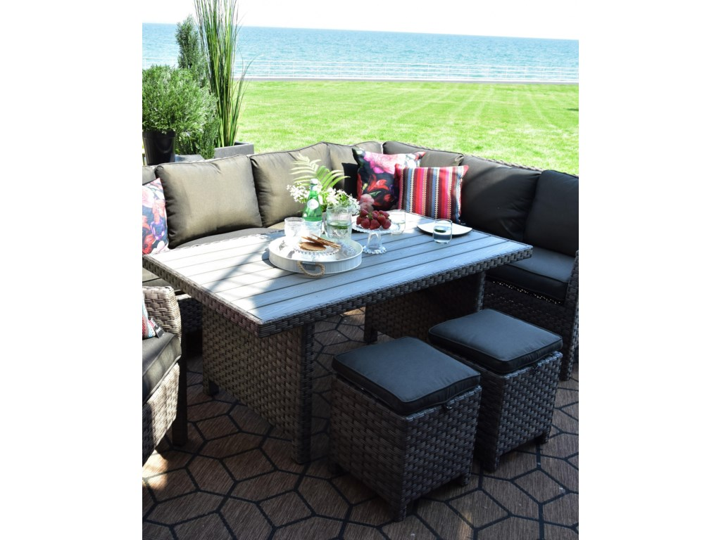 Primo International ArcadiaWicker and Aluminum Outdoor Dining Table
