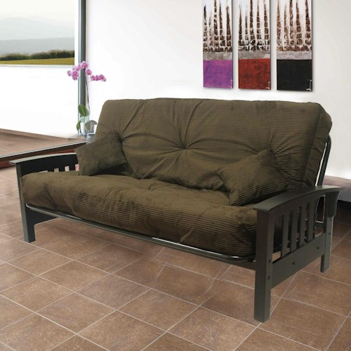 Primo International Futonz To Go Decorative Fremont Futon With Tufted Cushions And Slanted Wood Arms
