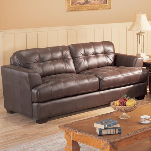 Primo International Millenium Leather Sofa With Button Tufted Back