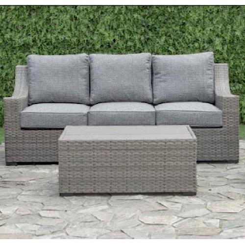 Primo International Newport Aluminum And Wicker Outdoor Sofa