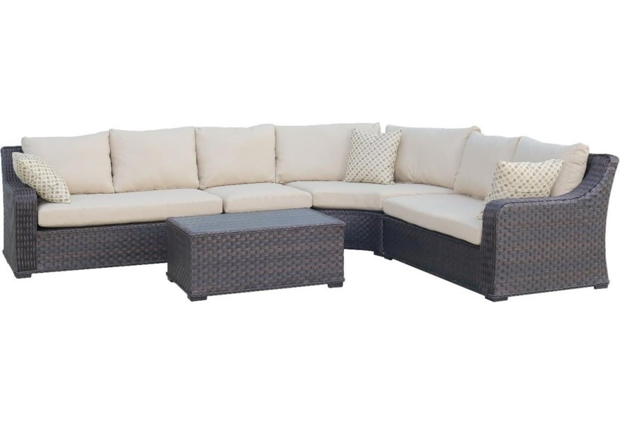 Primo International Tortola Outdoor Wicker Sectional with ...