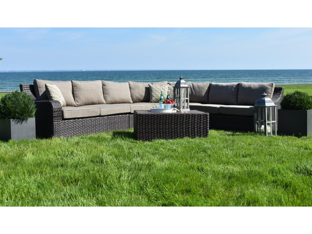 Primo international tortola outdoor wicker sectional with aluminum frame