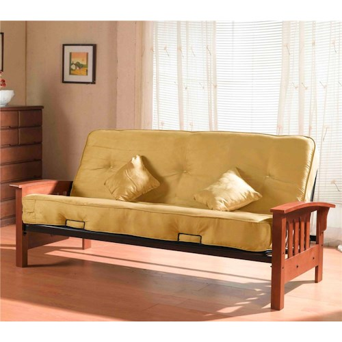 Primo International Tulsa Sleeper Futon With Oak Arms Michael S Furniture Warehouse