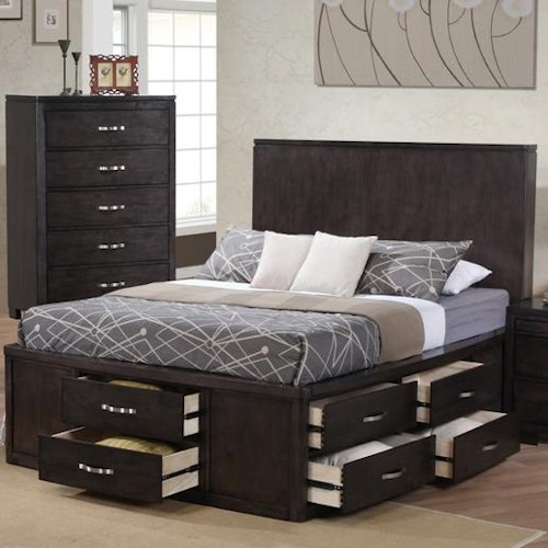 private reserve dublin king panel wood bed w storage - King Storage Bed Frame