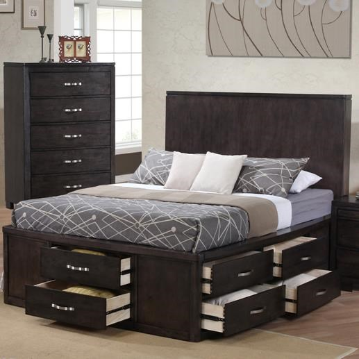 Private Reserve Dublin King Panel Wood Bed W/ Storage