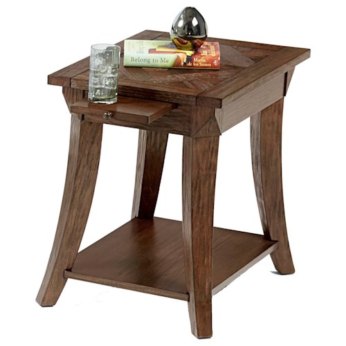Progressive Furniture Appeal I Chairside Table with Pull-Out Shelf & Parquet Table Top