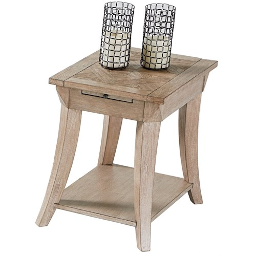 Progressive Furniture Appeal II Chairside Table with Pull-Out Shelf & Parquet Table Top