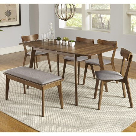 6-Piece Butterfly Table Set with Bench