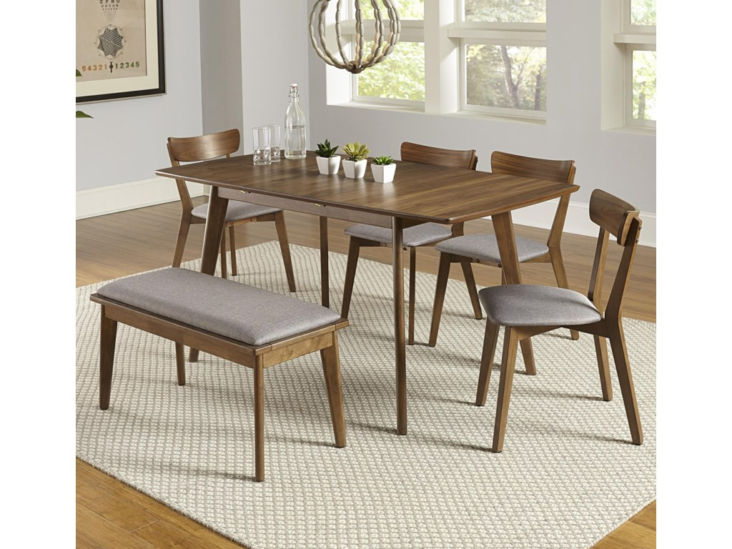 Progressive Furniture Arcade6-Piece Butterfly Table Set with Bench