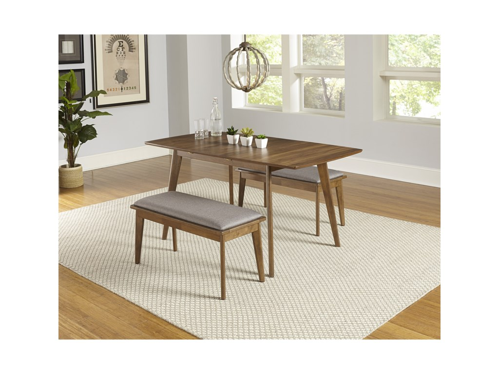 Progressive Furniture Arcade3-Piece Butterfly Table Set with 2 Benches