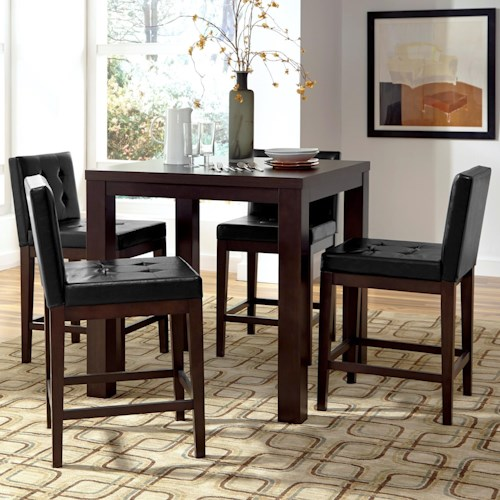 Progressive Furniture Athena 5-Piece Counter Square Dining Table Set