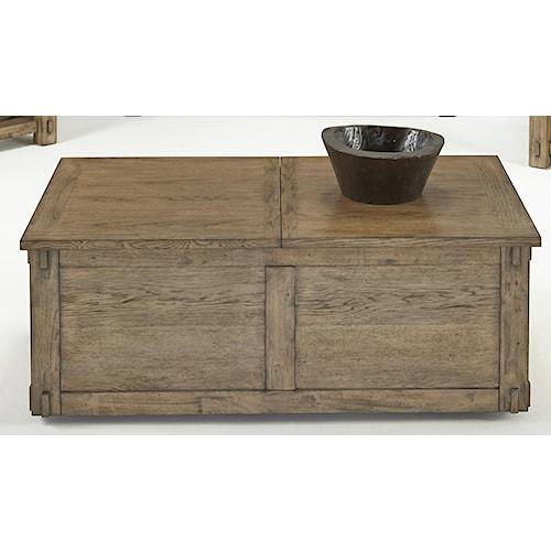 Progressive Furniture Boulder Creek Castered Trunk Cocktail Table with Storage & Pecan Veneers