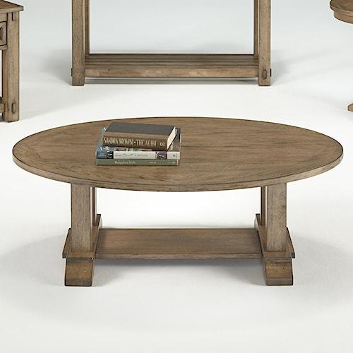 Progressive Furniture Boulder Creek Oval Cocktail Table with Trestle Base & Pecan Veneers