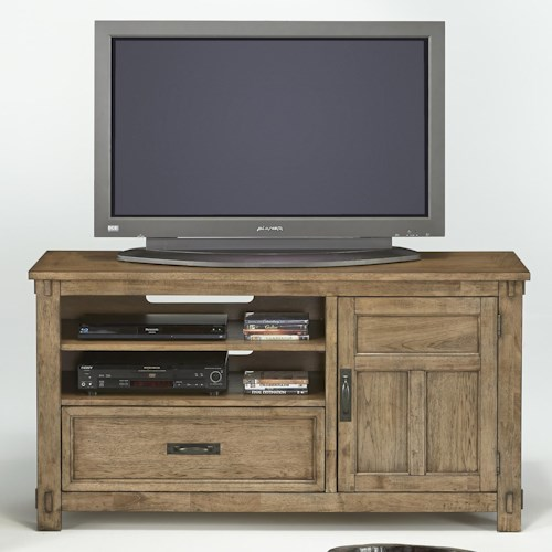 Progressive Furniture Boulder Creek Media Console with Pecan Veneers