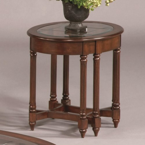 Progressive Furniture Canton Heights Oval Glass Top End Table