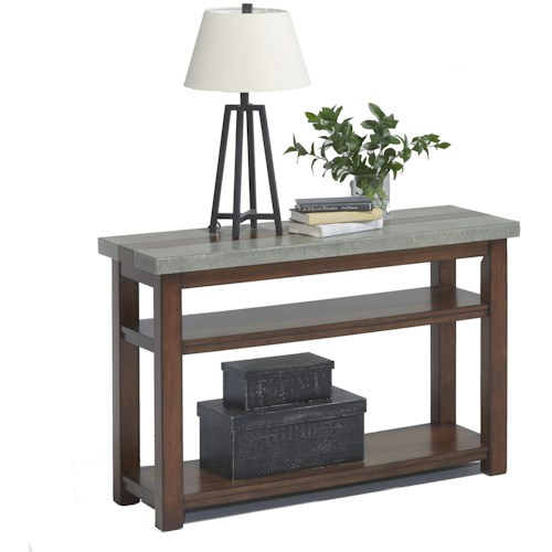 Progressive Furniture Cascade Sofa/Console Table with Birch & Cement Table Top