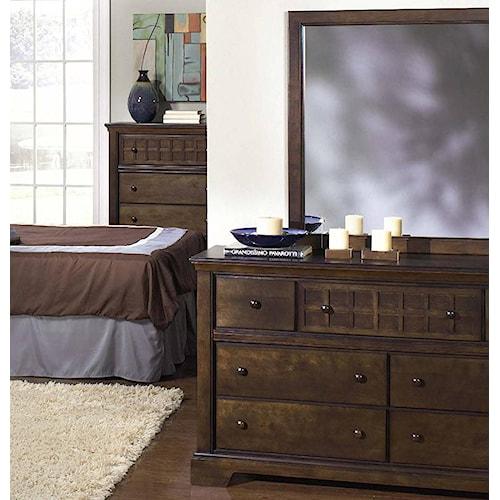 Progressive Furniture Casual Traditions Casual 7 Drawer Dresser and Landscape Mirror