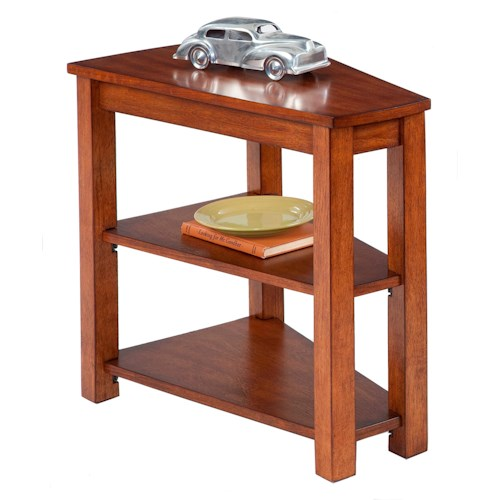 Progressive Furniture Chairsides Chairside Table with Wedge Shape Top & 2 Shelves