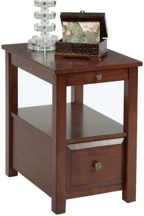 Progressive Furniture Chairsides Chairside Table with Pull Out Shelf, Shelf, and Drawer