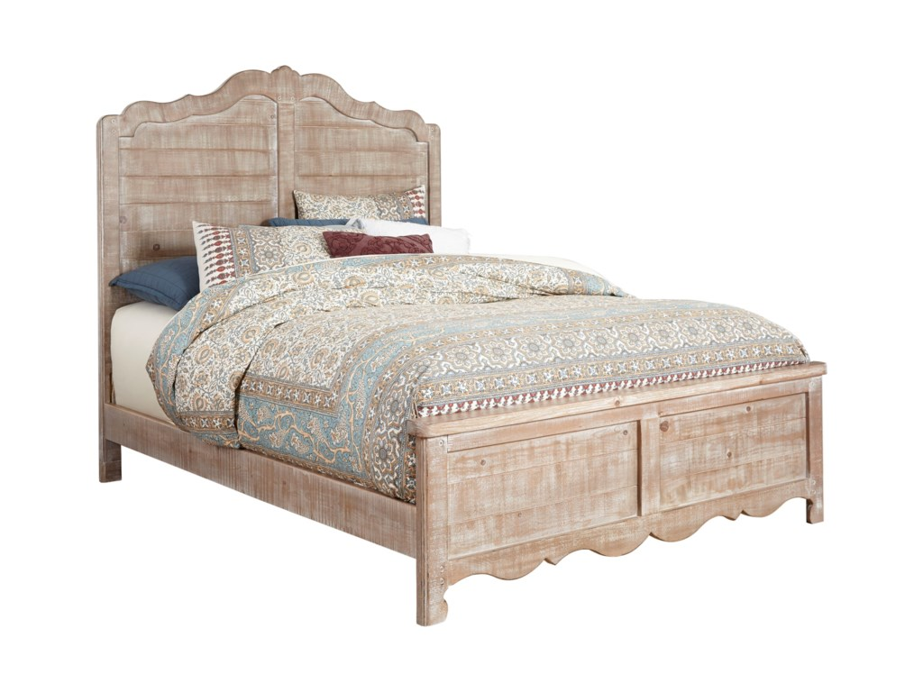 Progressive Furniture Chatsworth Cottage Queen Size Distressed Pine Bed