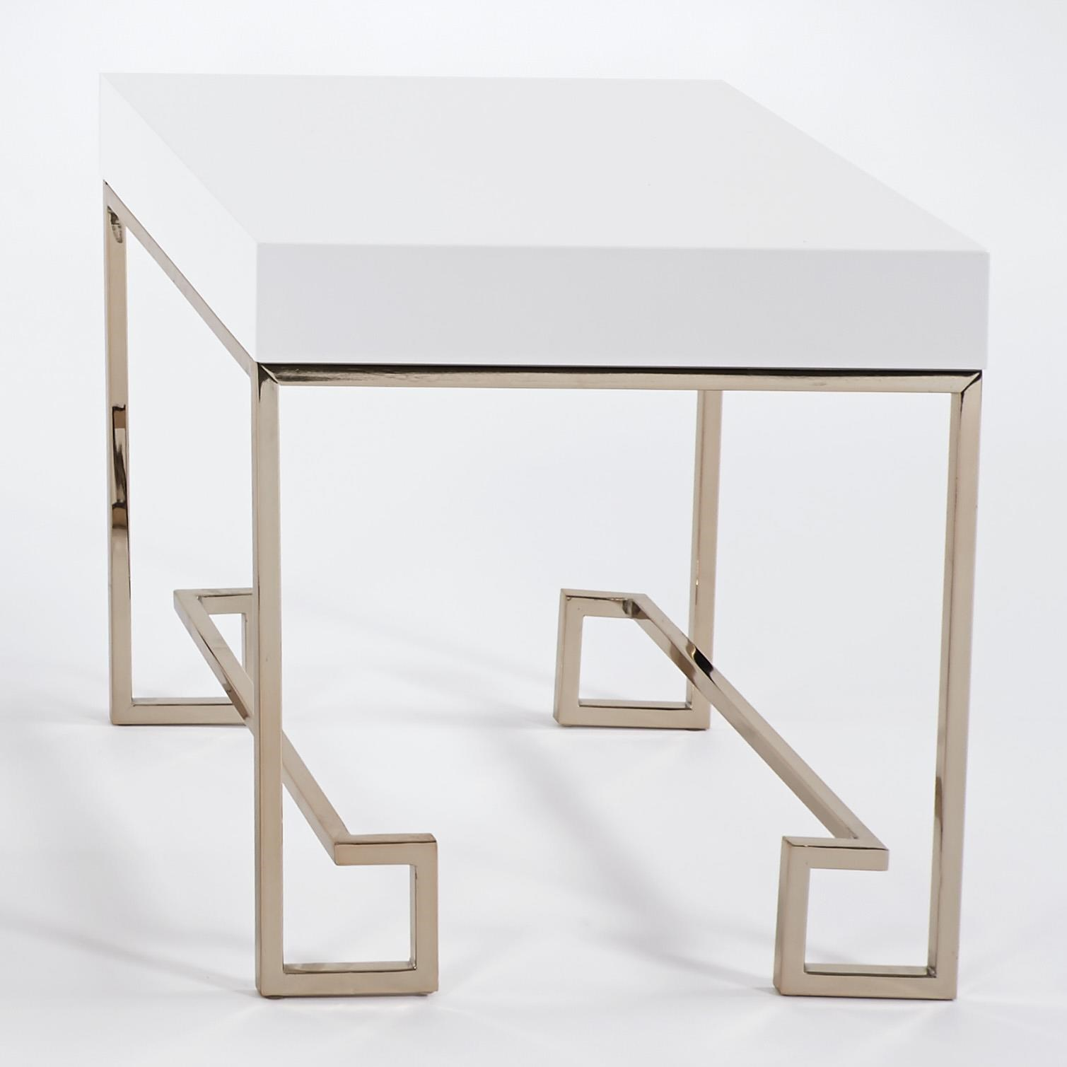 Progressive Furniture CoCo End Table With Polished White Lacquer Top U0026 Rose  Gold Finish Metal Base