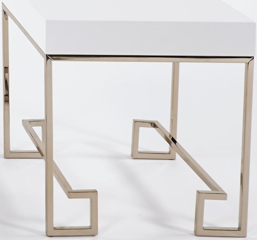 Progressive Furniture CoCo End Table with Polished White Lacquer Top & Rose Gold Finish Metal Base