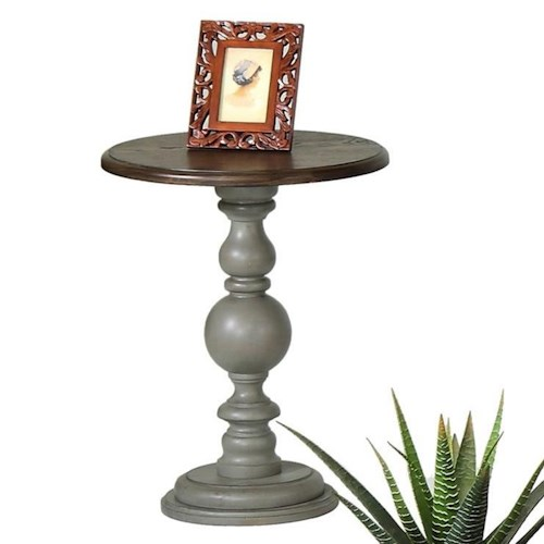 Progressive Furniture Colonnades Weathered Gray/Oak Pedestal Chairside Table