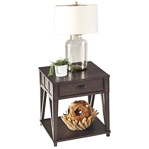 Progressive Furniture Consort Oak Veneer Rectangular End Table with Drawer