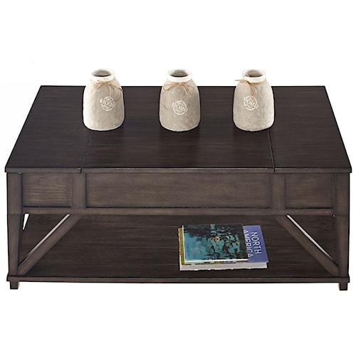 Progressive Furniture Consort Oak Veneer Lift-Top Cocktail Table with Hidden Storage and Casters