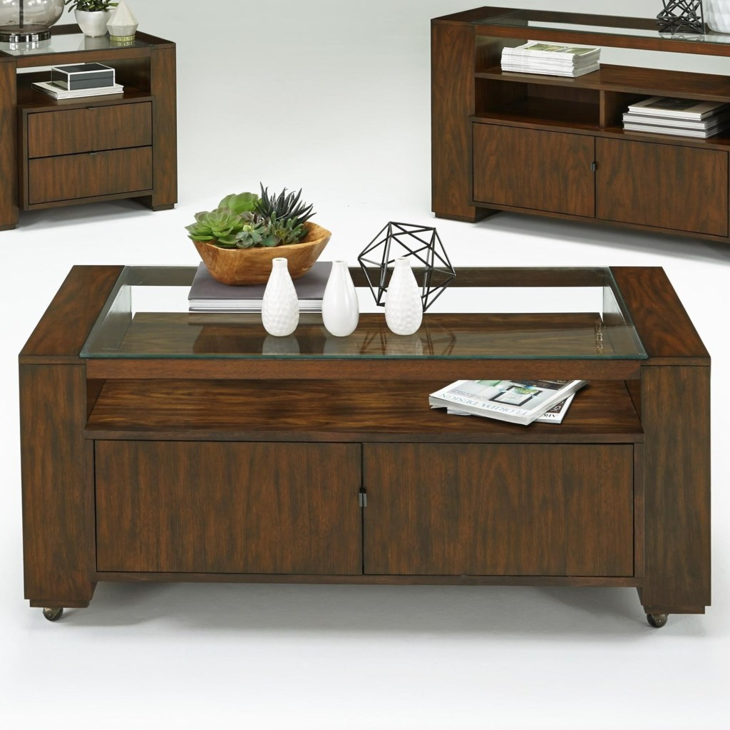 Progressive Furniture Contempo Castered Cocktail Table With Hidden