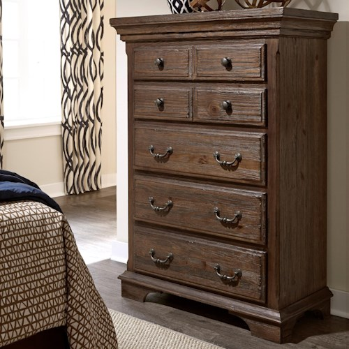 Progressive Furniture Copenhagen Transitional Solid Wood Pine Chest with 6 Drawers