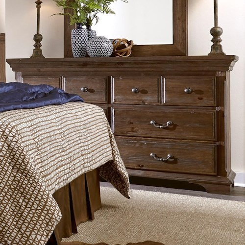 Progressive Furniture Copenhagen Transitional Solid Wood Pine 6 Drawer Dresser
