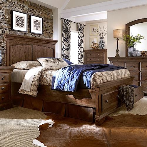 Progressive Furniture Copenhagen Queen Panel Bed with Storage Footboard