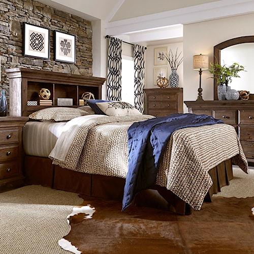 Progressive Furniture Copenhagen Solid Wood Pine Queen Bookcase Headboard