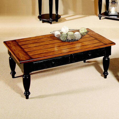 Progressive Furniture Country Vista Two-Tone Storage Cocktail Table with Plank Effect Top & Turned Legs