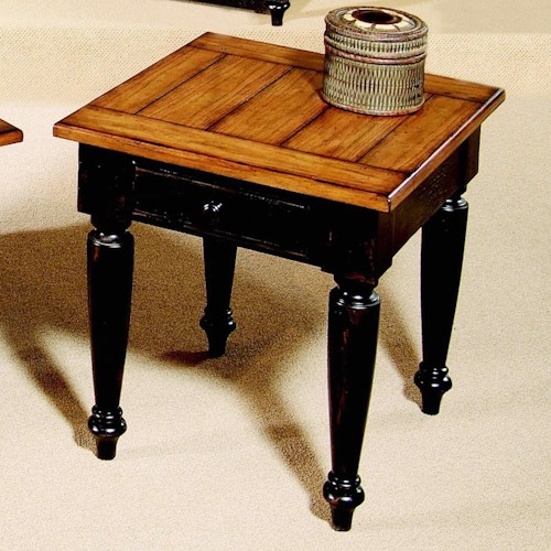 Progressive Furniture Country Vista Two-Tone Storage End Table with Plank Effect Top & Turned Legs