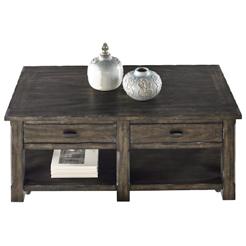 Progressive Furniture Crossroads Rustic Rectangular Cocktail Table with Storage in Gray Finish