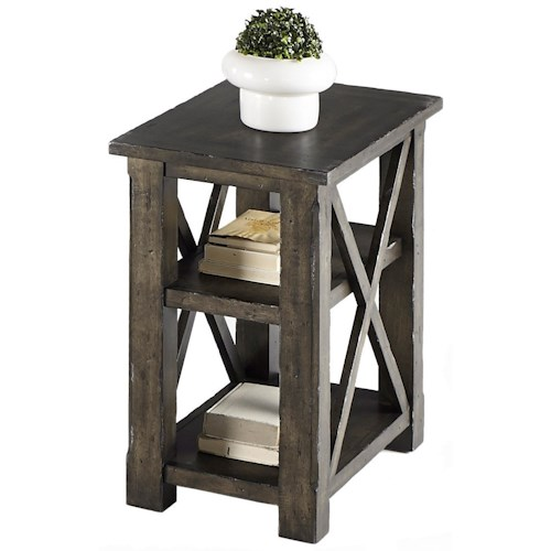Progressive Furniture Crossroads Rustic Chairside Table with 2 Shelves in Gray Finish